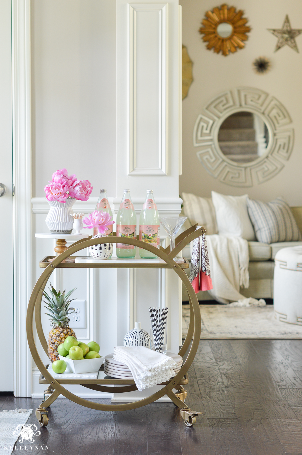 easy tropical bar cart with peonies and pineapple world market gold asher bar cart - How To Style A Bar Cart