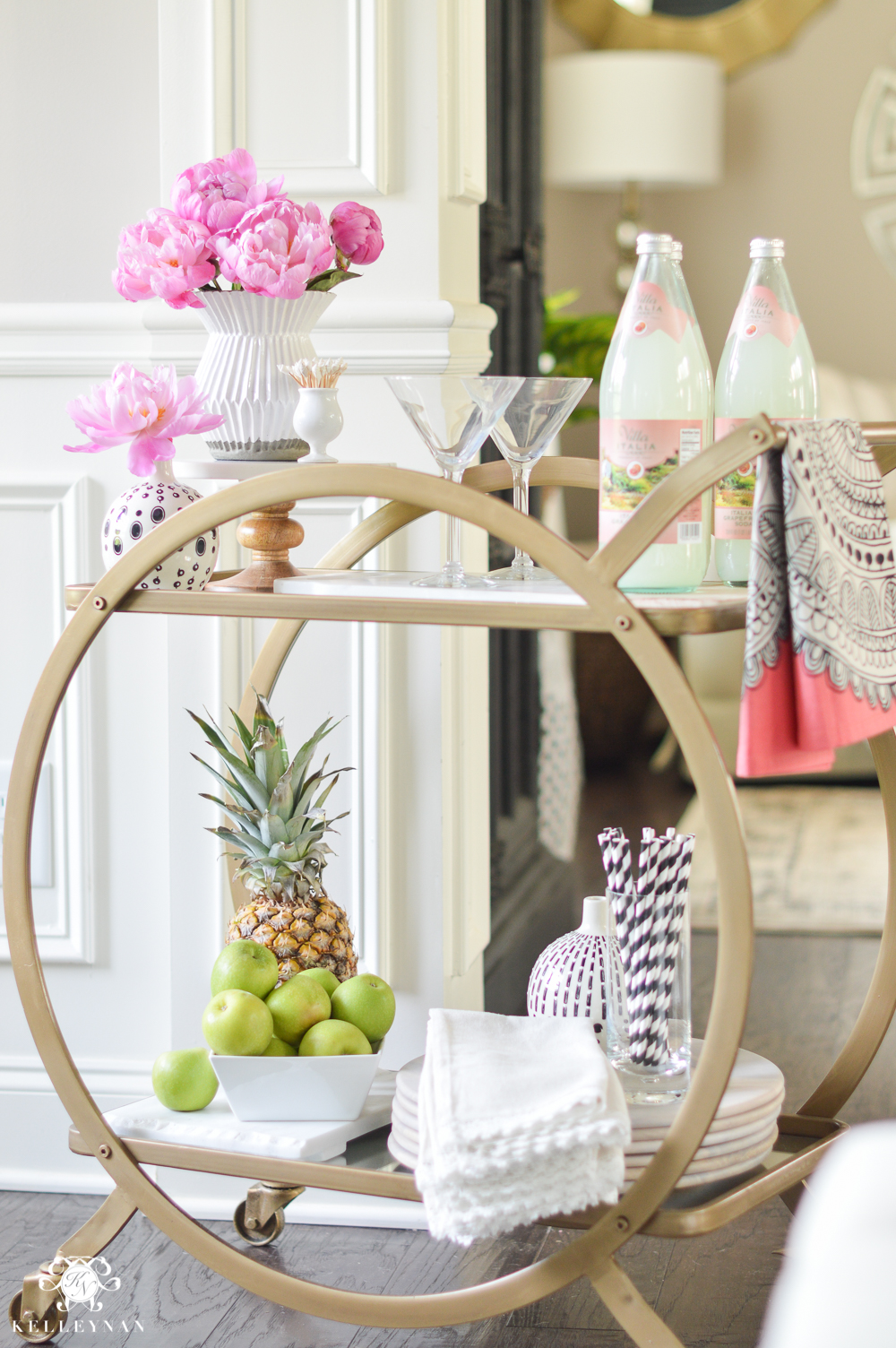 Easy Tropical Bar Cart with Peonies and Pineapple- bar cart accessories