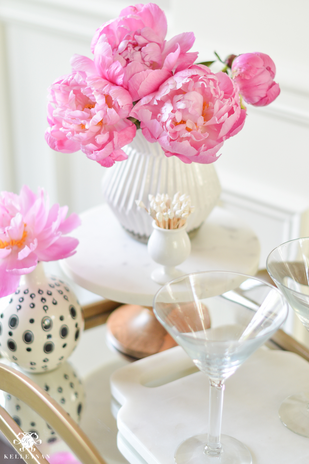 Easy Tropical Bar Cart with Peonies and Pineapple-how to style a bar cart with flowers