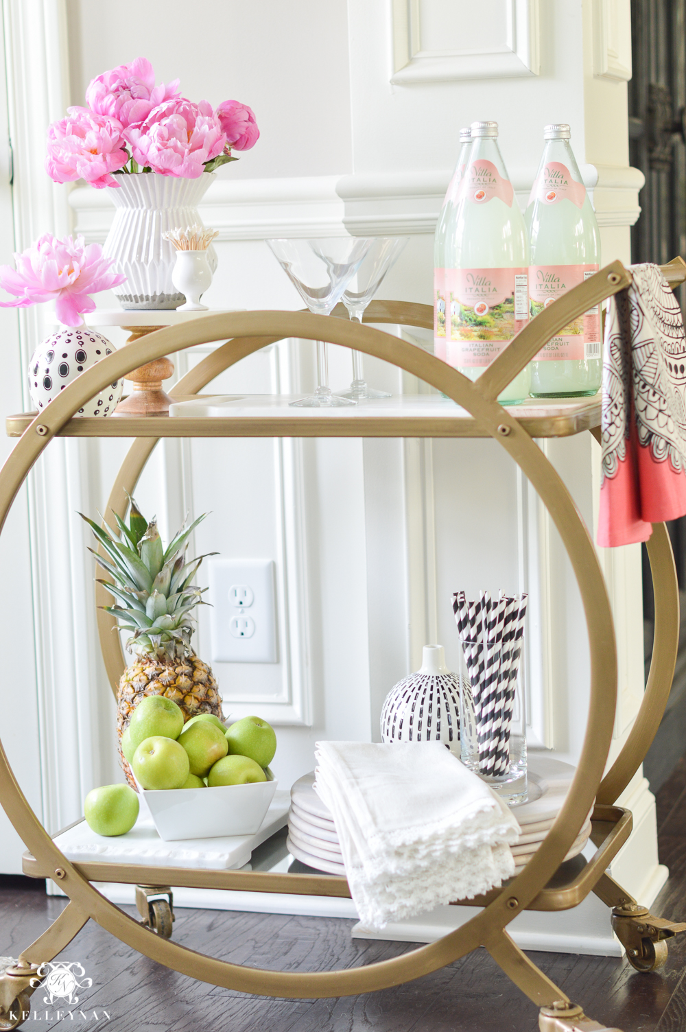 Easy Tropical Bar Cart with Peonies and Pineapple-how to style a bar cart