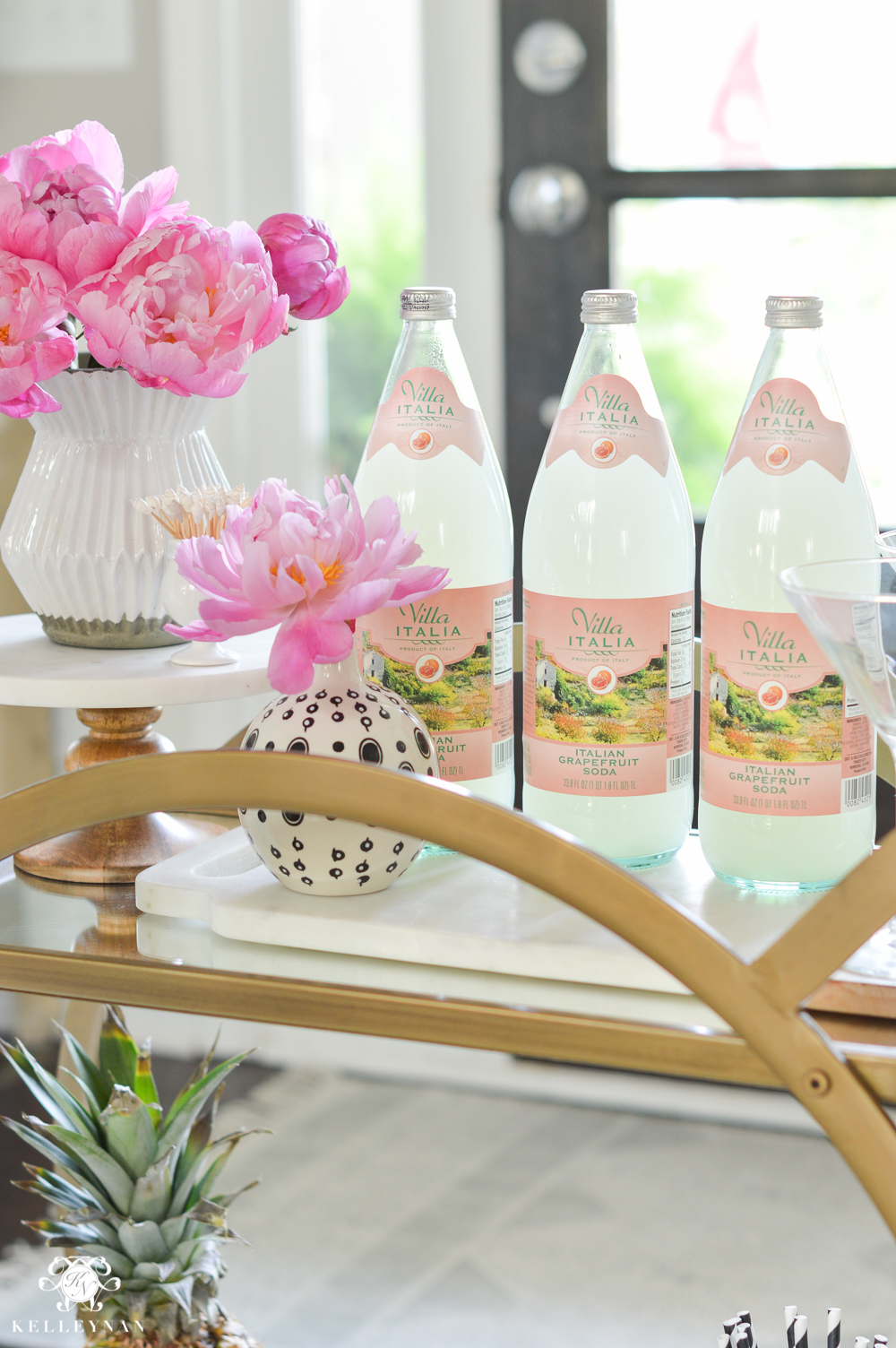 Easy Tropical Bar Cart with Peonies and Pineapple- inexpensive decor