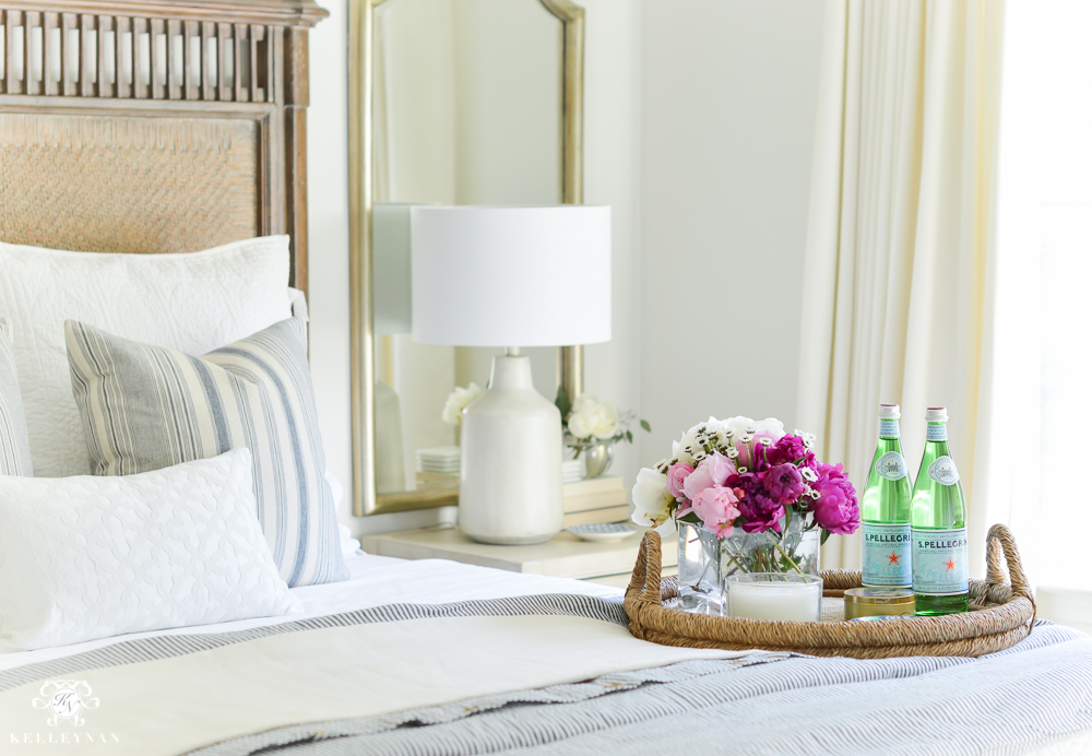 Guest Room Essentials- What every guest bedroom should have- blue and white classic bedroom