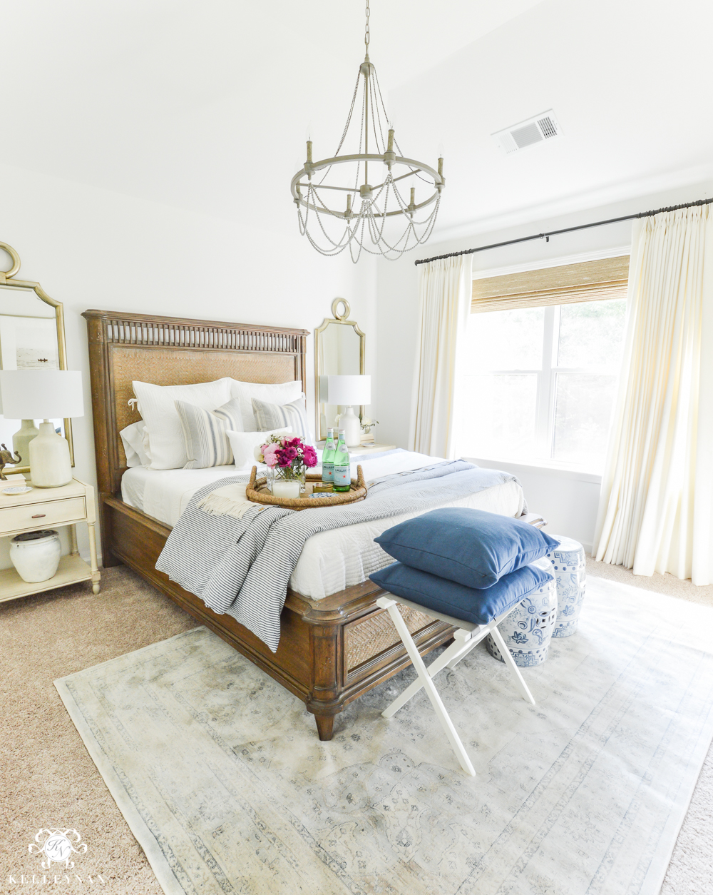 Guest Room Essentials- What every guest bedroom should have- blue and white guest bedroom with peonies