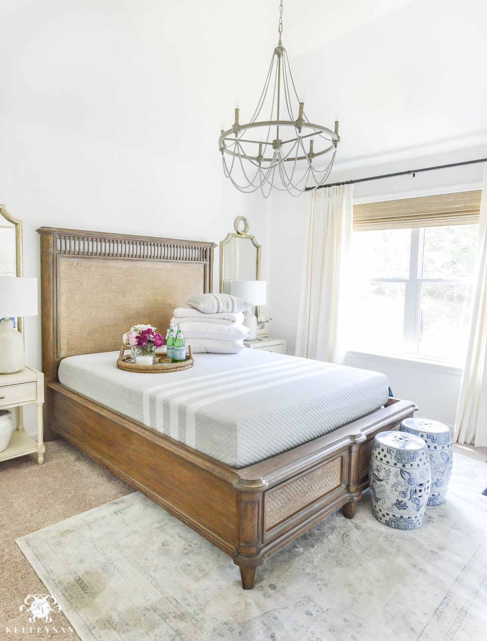 Guest Room Essentials- What every guest bedroom should have- white guest bedroom with leesa mattress