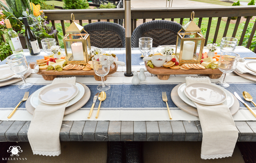 Outdoor Entertaining and Table Ideas with Cheese board appetizer centerpieces- nautical place settings