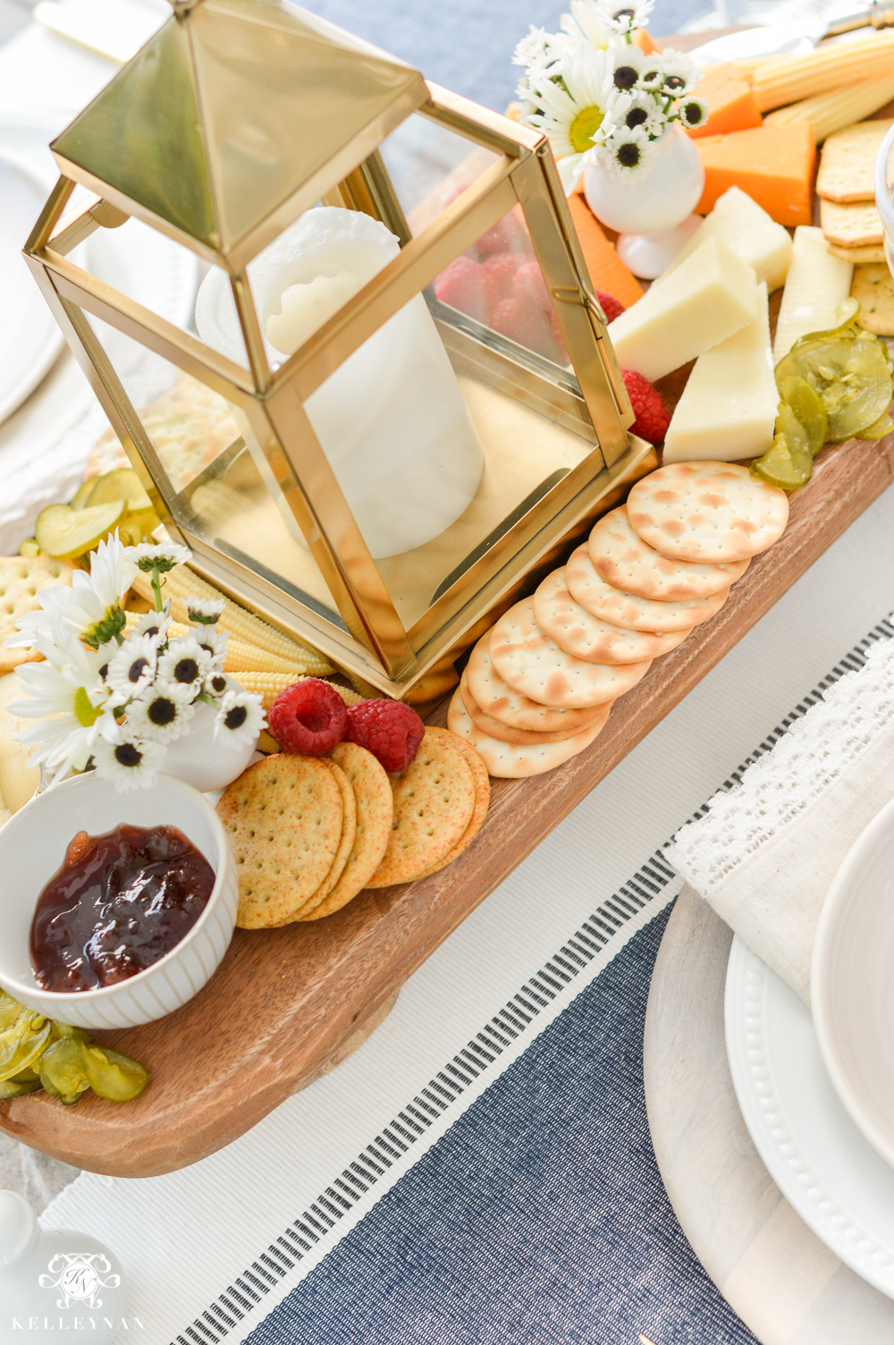Outdoor Entertaining and Table Ideas with Cheese board appetizer centerpieces- pretty cheese board