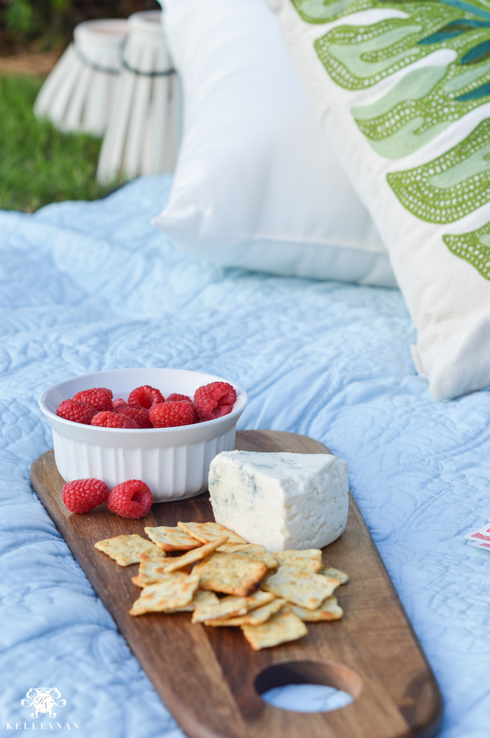 Picnic and Tailgate Ideas and Setup- cheese board with fruit on picnic