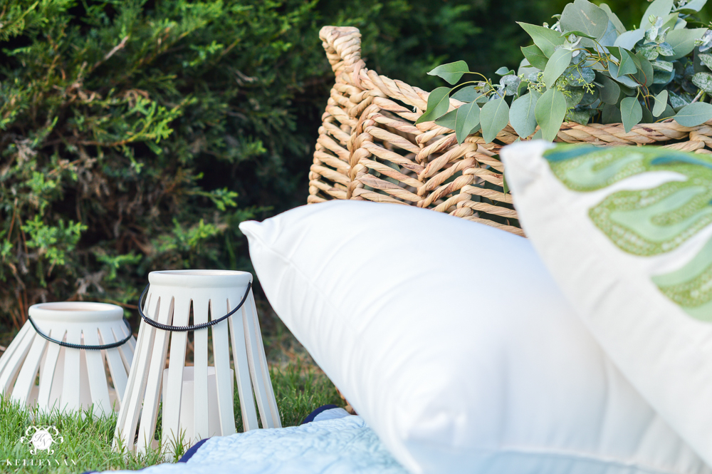 Picnic and Tailgate Ideas and Setup- lanterns and pillows for comfort