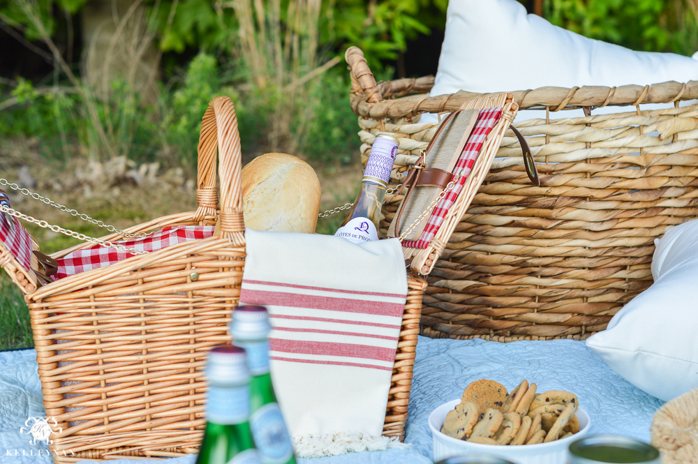 Picnic and Tailgate Ideas and Setup-red and white check picnic basket