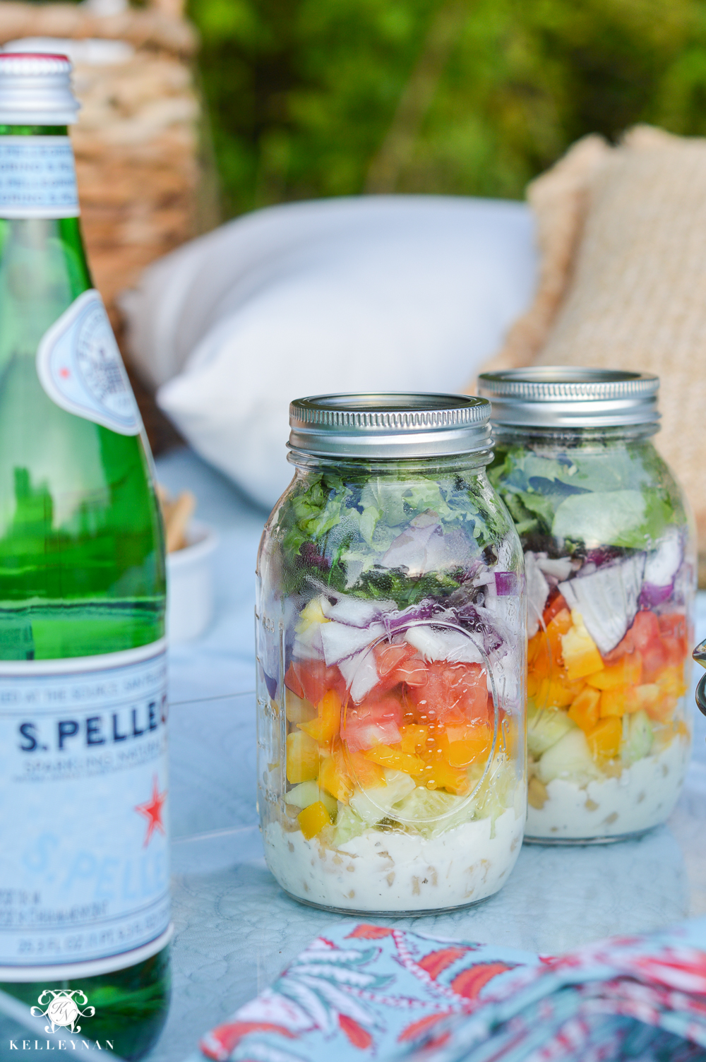Picnic and Tailgate Ideas and Setup- salads in jars picnic food