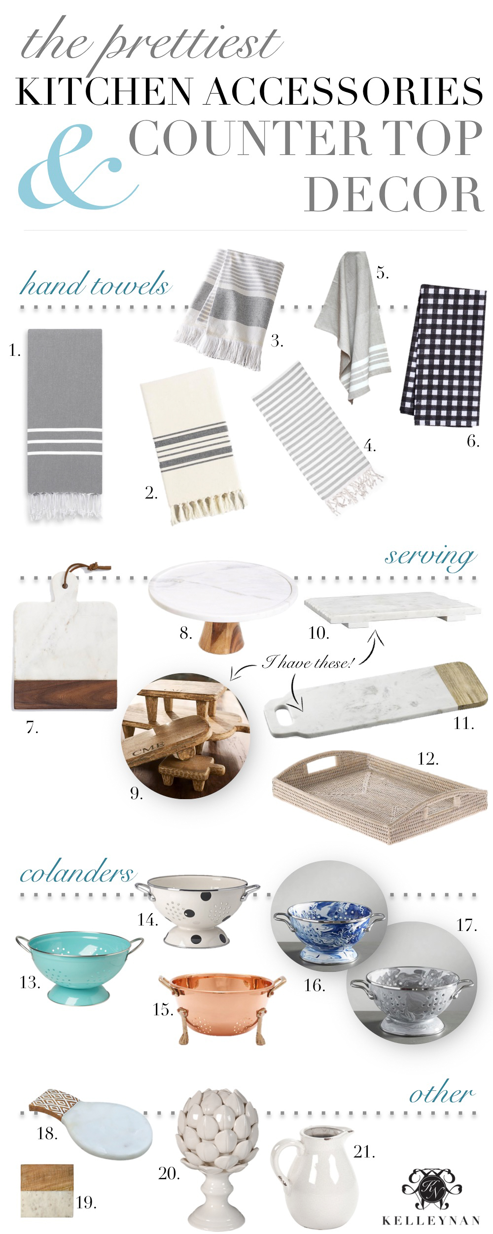 Pretty kitchen accessories and essentials for countertop styling and decorating
