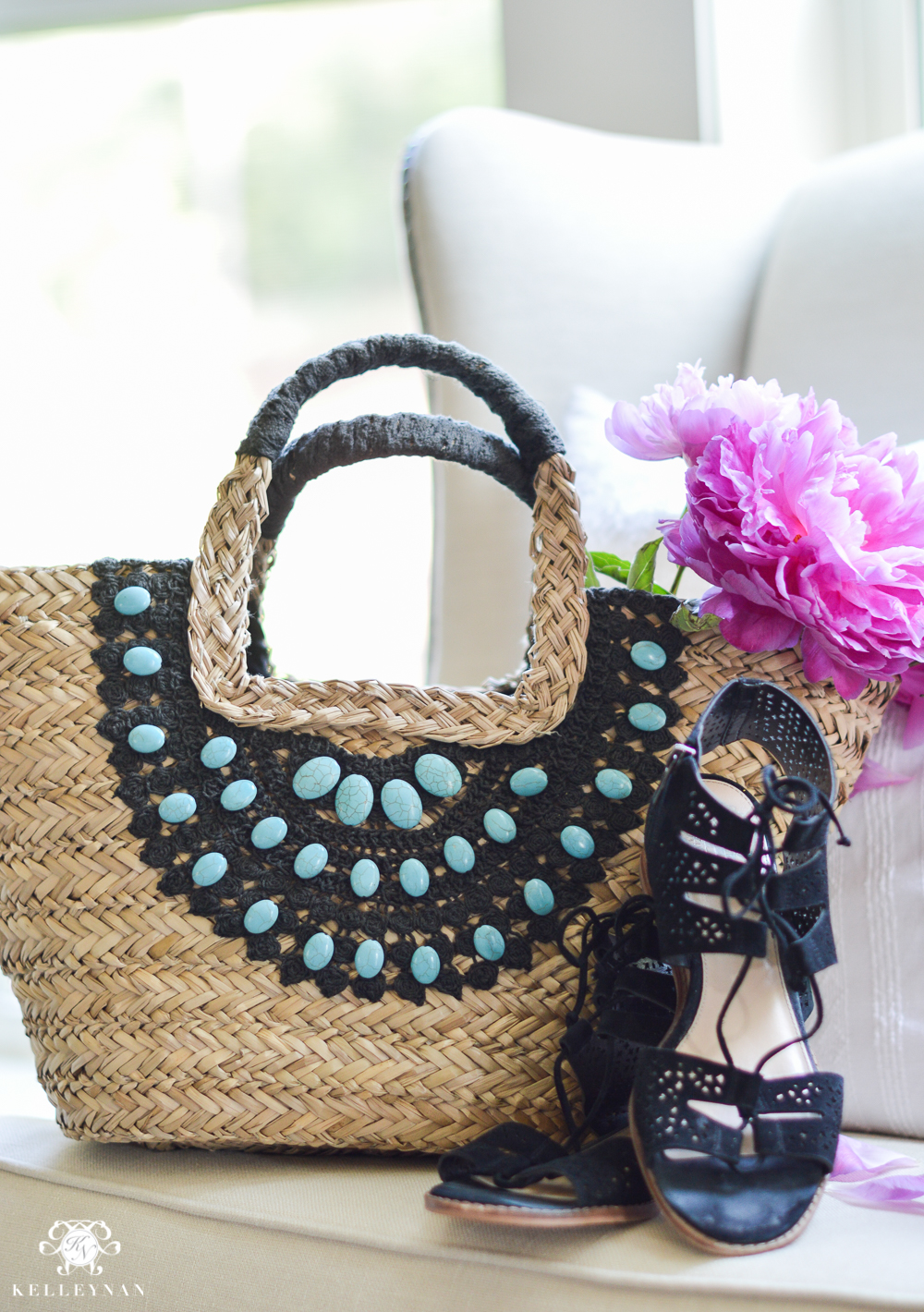 Straw Totes for Every Budget- Black and Rattan bag-3