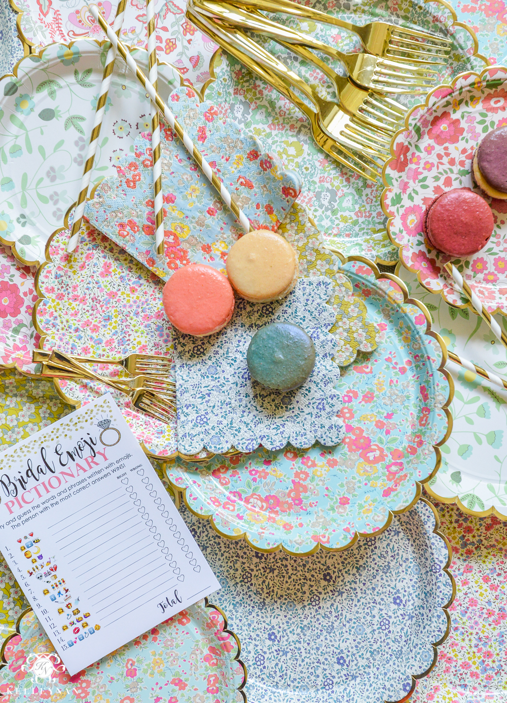 Bridal Shower Floral Plates Macarons and Gold Flatware- bridal shower ideas for a garden party with games