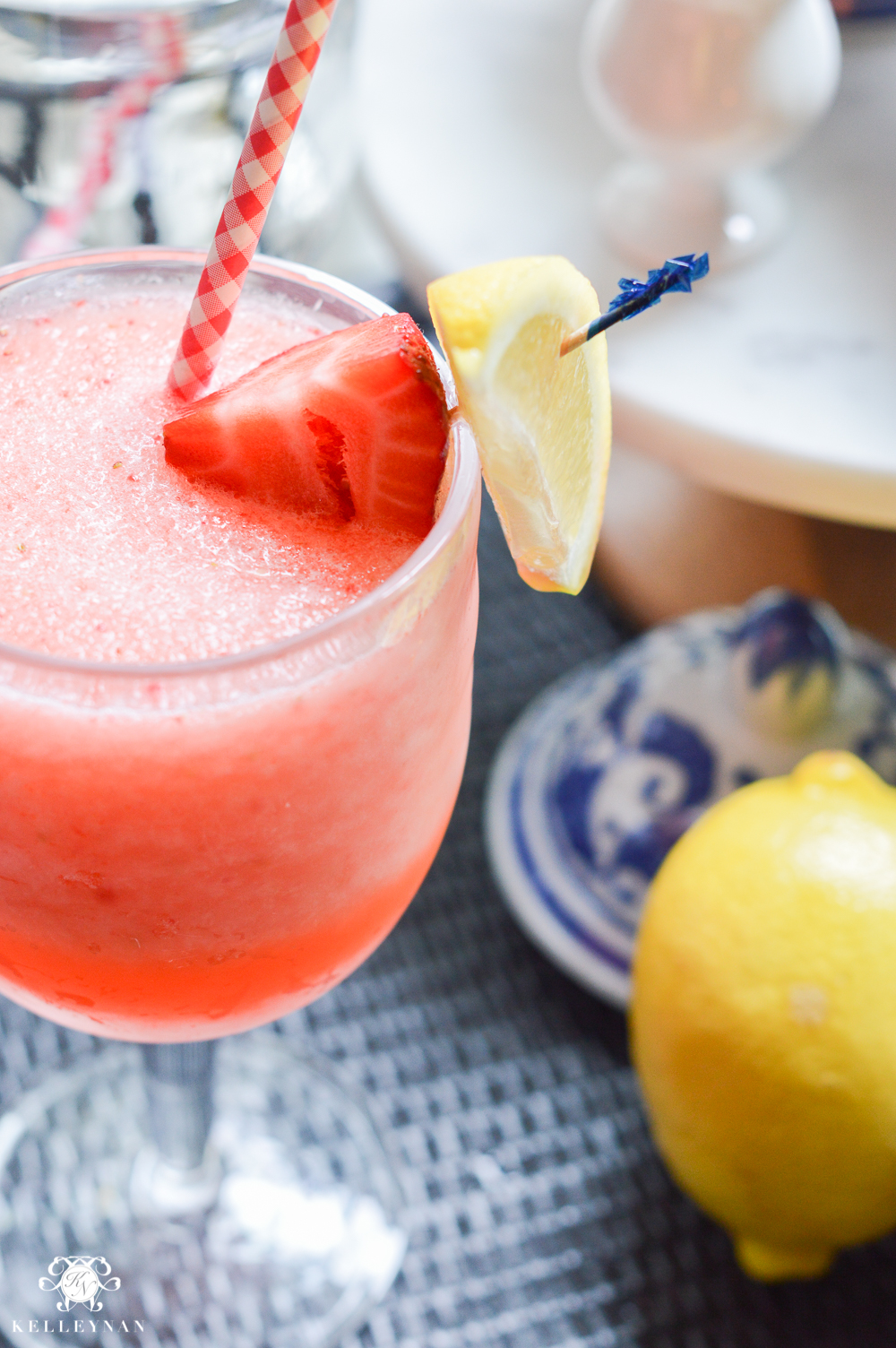 Fourth of July Decor and Strawberry Lemon-Limeade Rum Slush Drink Recipe- easy adult frozen drink
