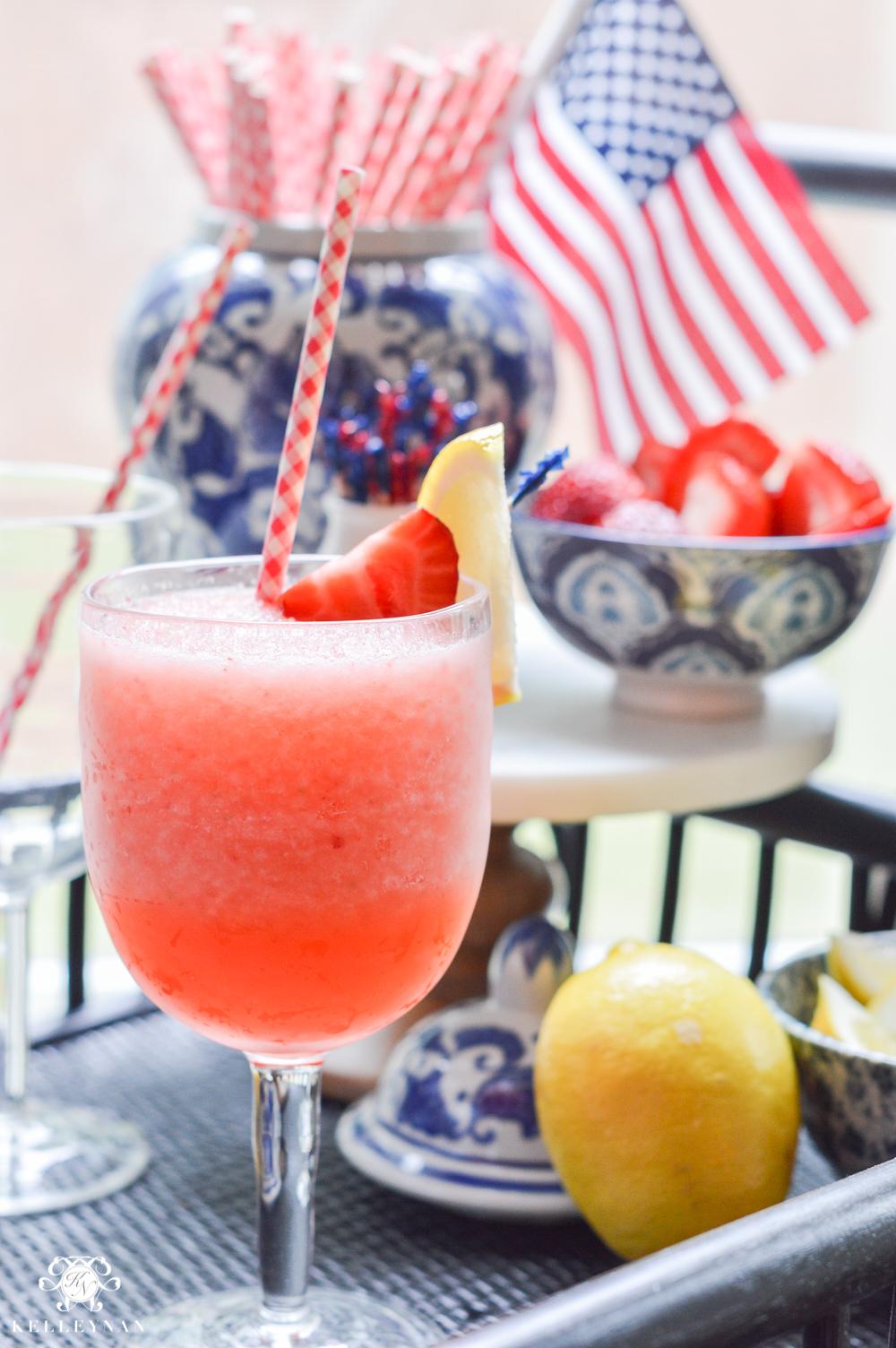 Fourth of July Decor and Strawberry Lemon-Limeade Rum Slush Drink Recipe on bar cart