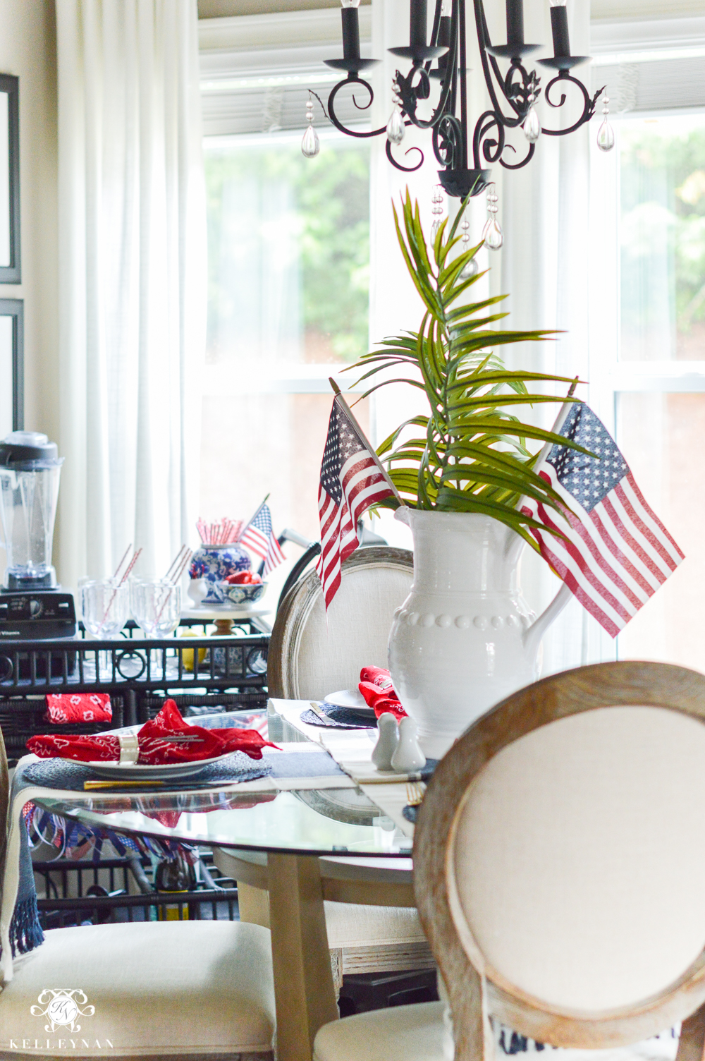 Fourth of July Decor and patriotic tablescape