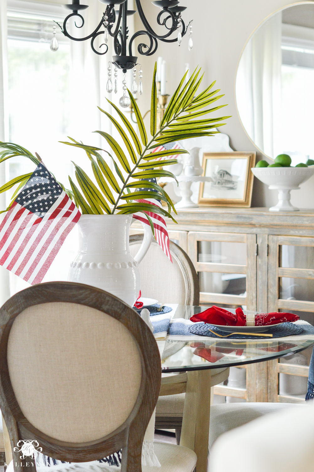 Fourth of July Decor - palm leaf table centerpiece with american flags