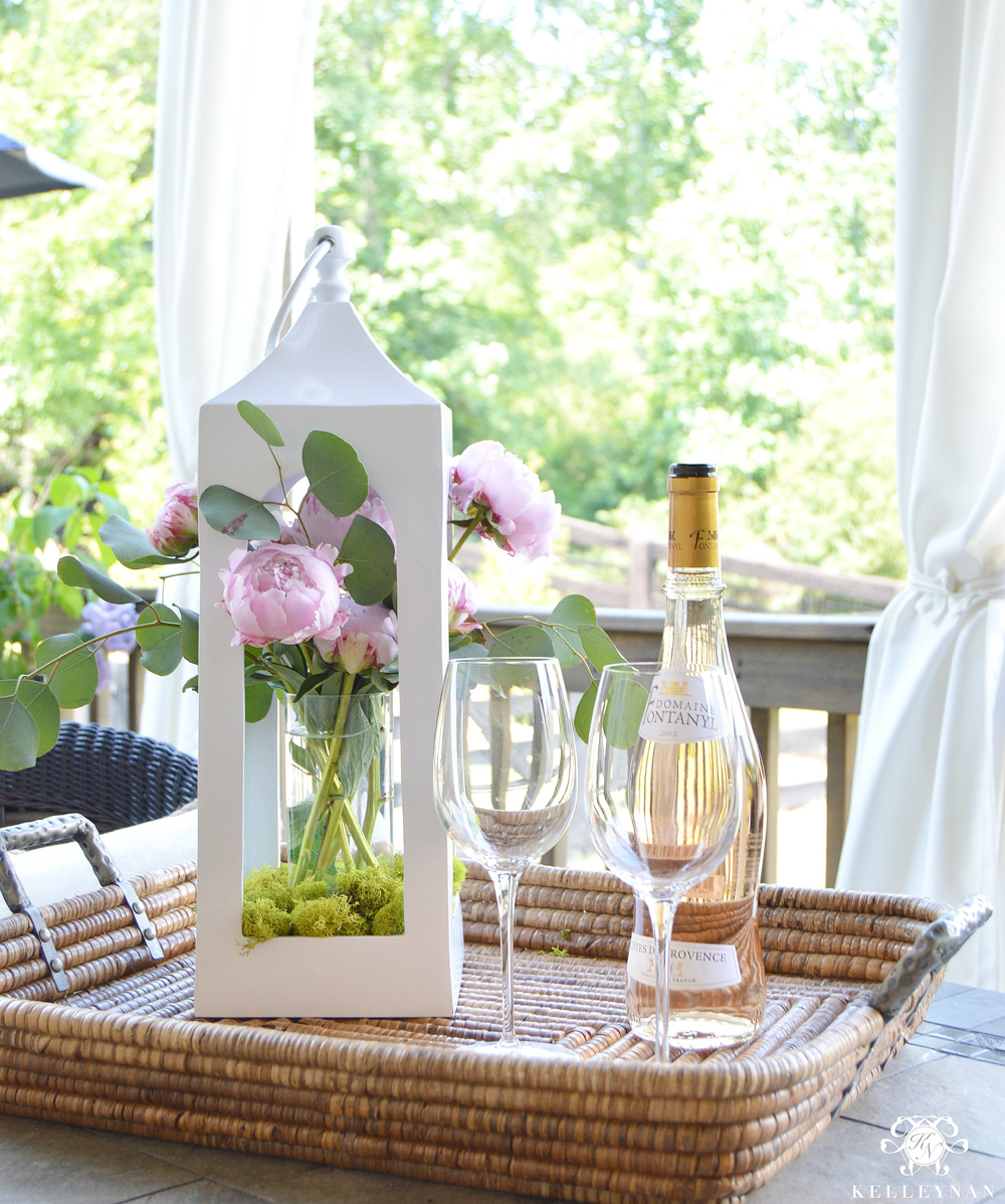 Peonies Floral Arrangement in White Pottery Barn Lantern