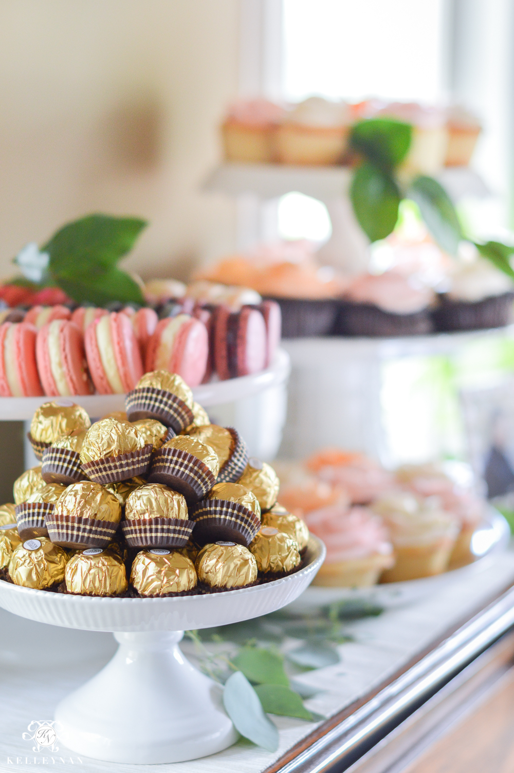 Southern Garden Party Bridal Shower Ideas- Dessert Table- Macarons, cupcakes, ferrier rocher