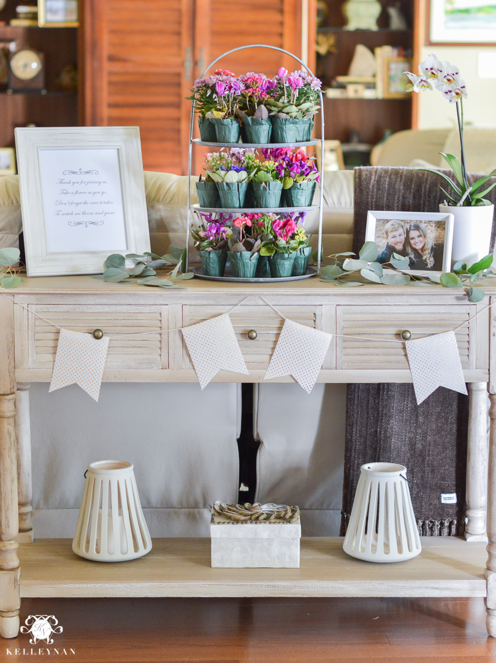 Southern Garden Party Bridal Shower Ideas- decorated guest favor setup