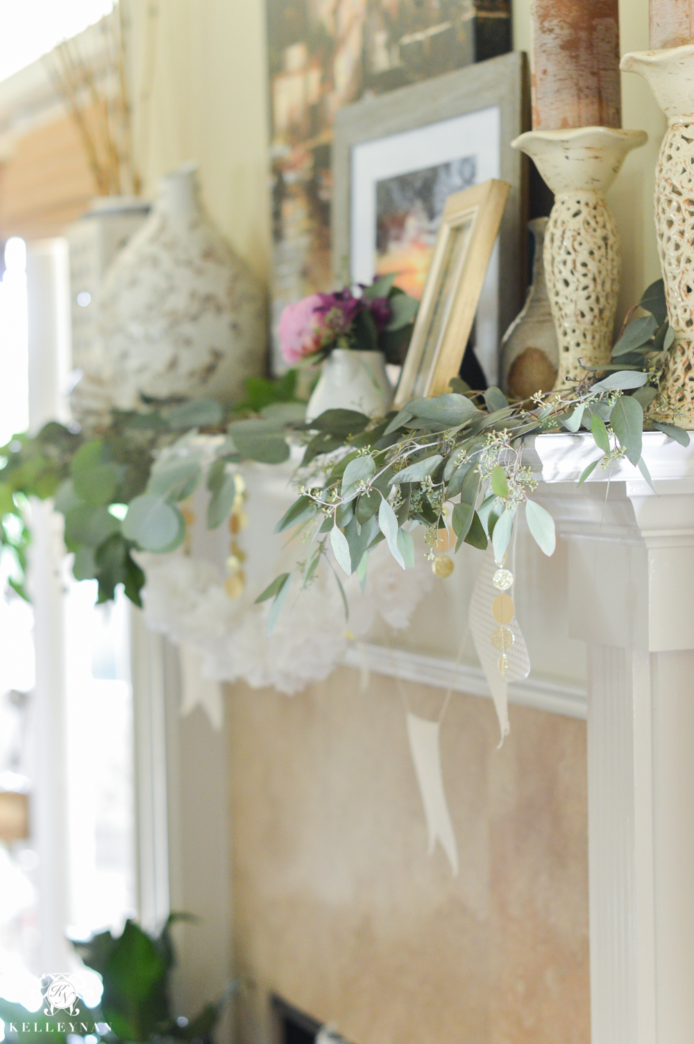 Southern Garden Party Bridal Shower Ideas-fireplace garland with eucalyptus