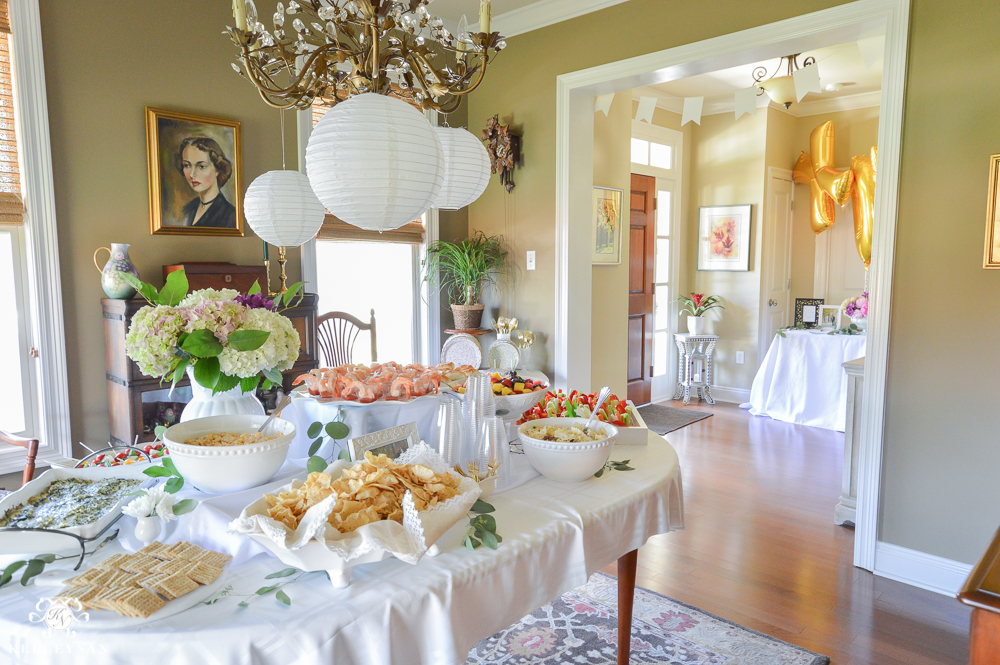 southern garden party bridal shower ideas food table display in dining room