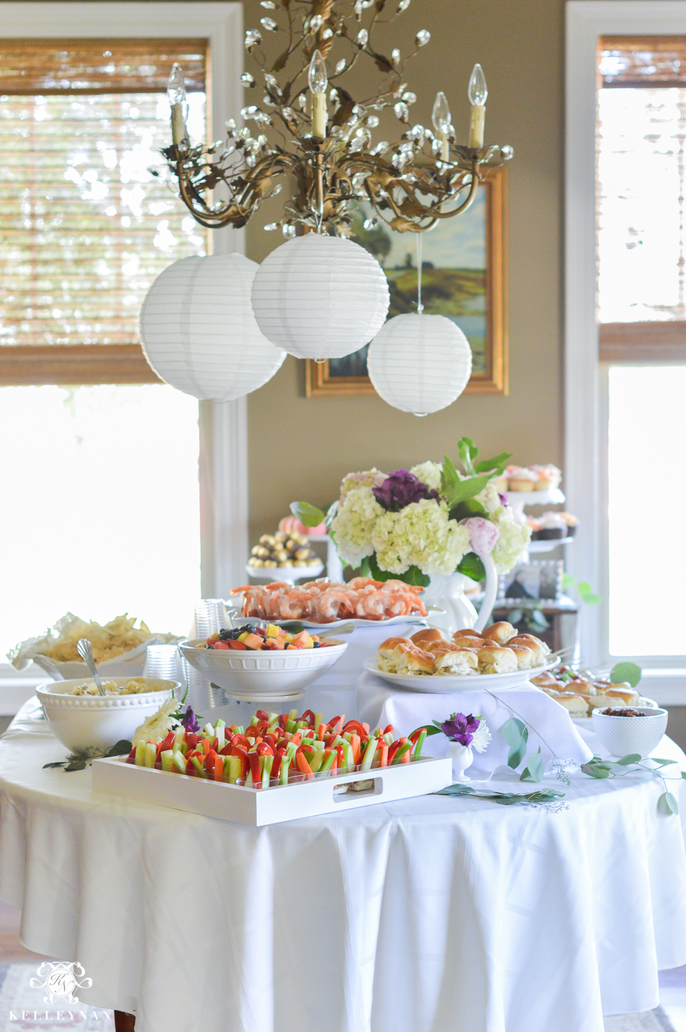 southern garden party bridal shower ideas food table with garden lanterns