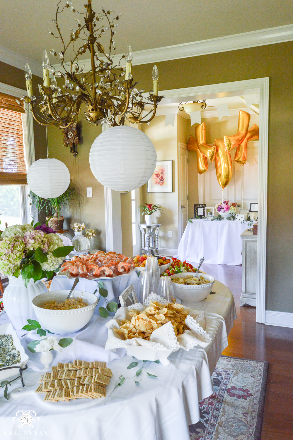 southern garden party bridal shower ideas grand food table setup