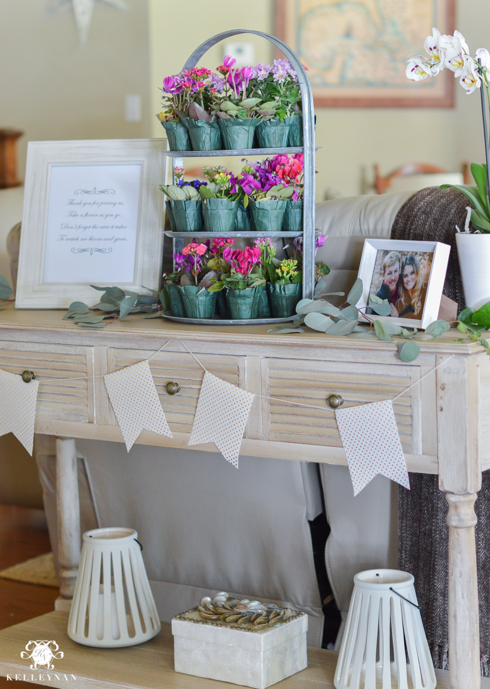Southern Garden Party Bridal Shower Ideas- guest favor table with flowers as goodies