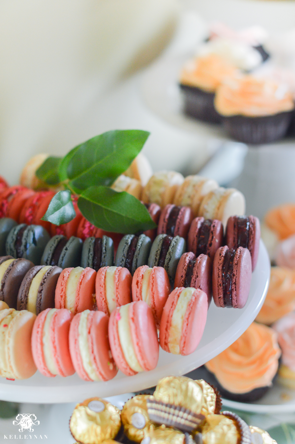 Southern Garden Party Bridal Shower Ideas- macaron display with leaves