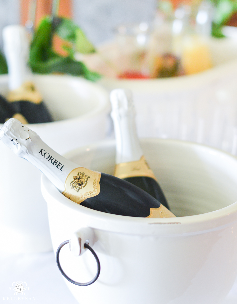 Southern Garden Party Bridal Shower Ideas- mimosa bar champagne bucket