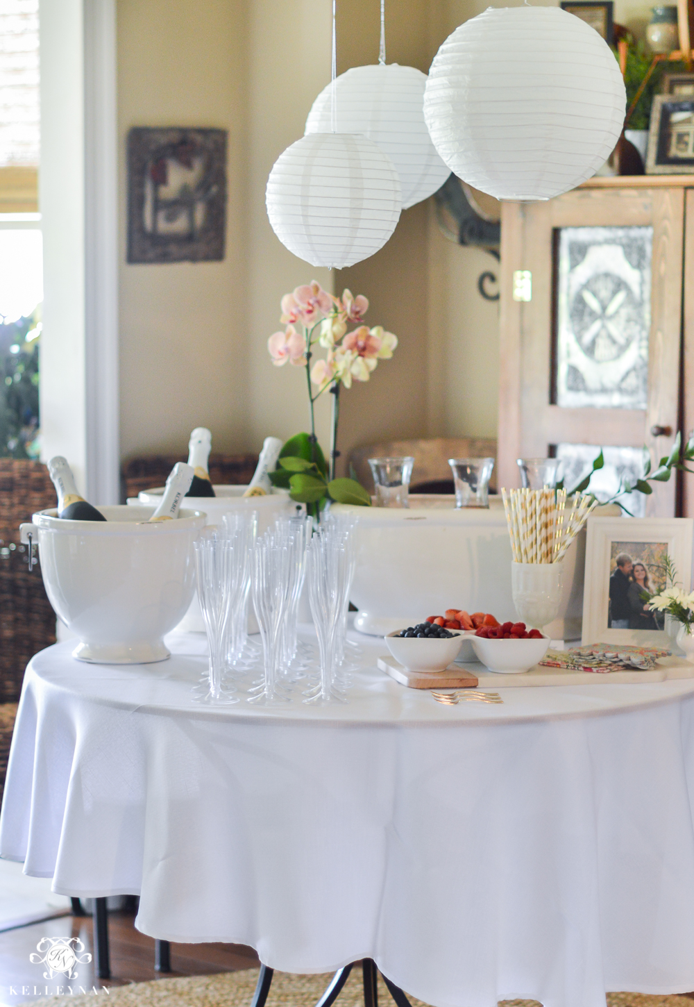 southern garden party bridal shower ideas mimosa bar with garden lanters