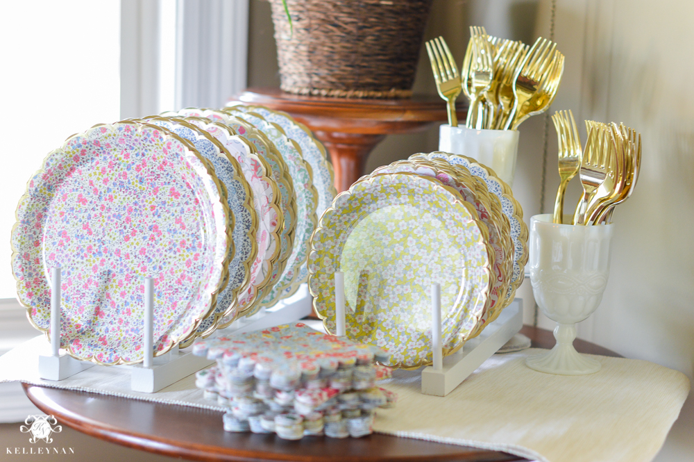 Southern Garden Party Bridal Shower Ideas paper plate and napkin setup