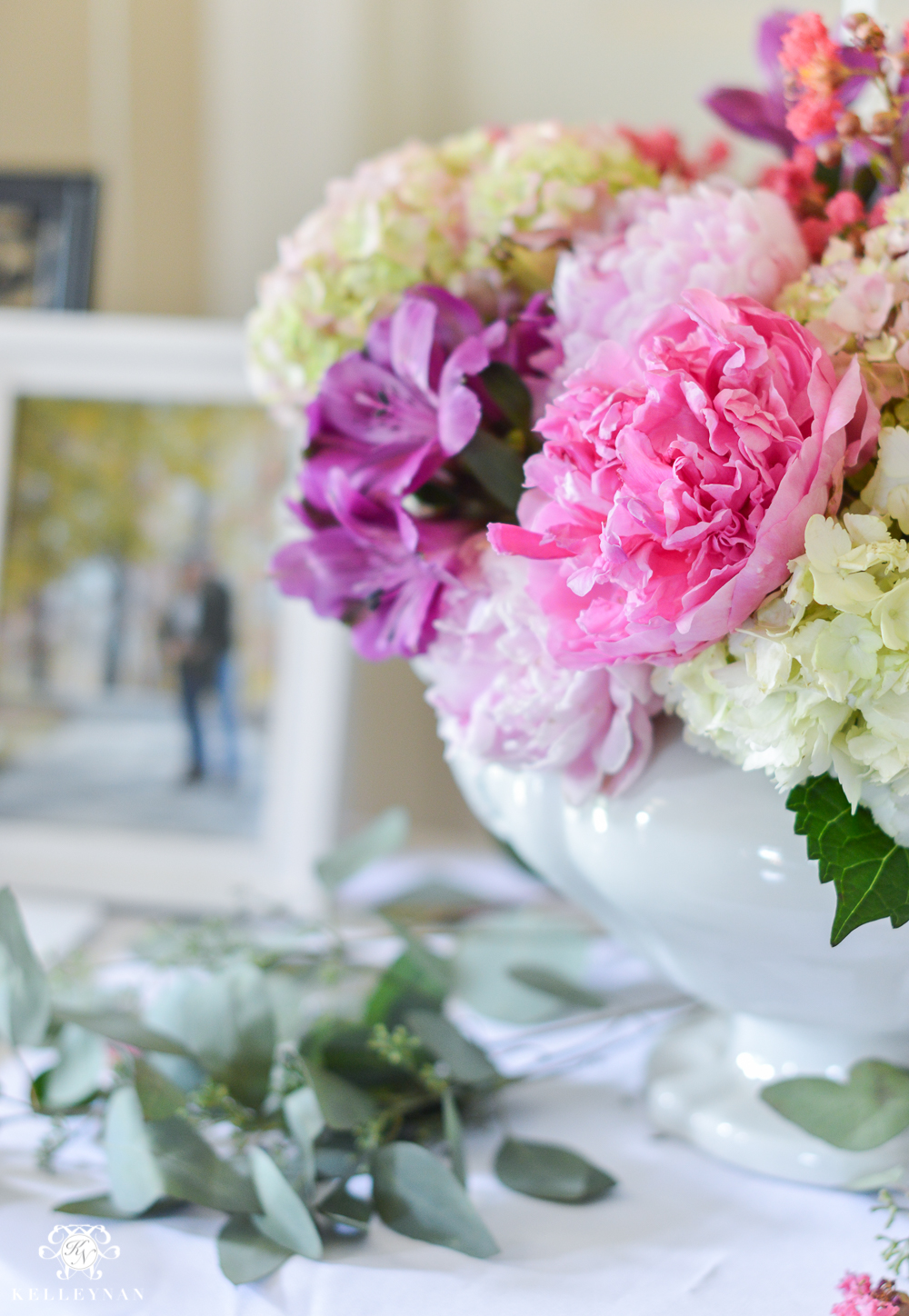 Southern Garden Party Bridal Shower Ideas- peony and hydrangea floral arrangement