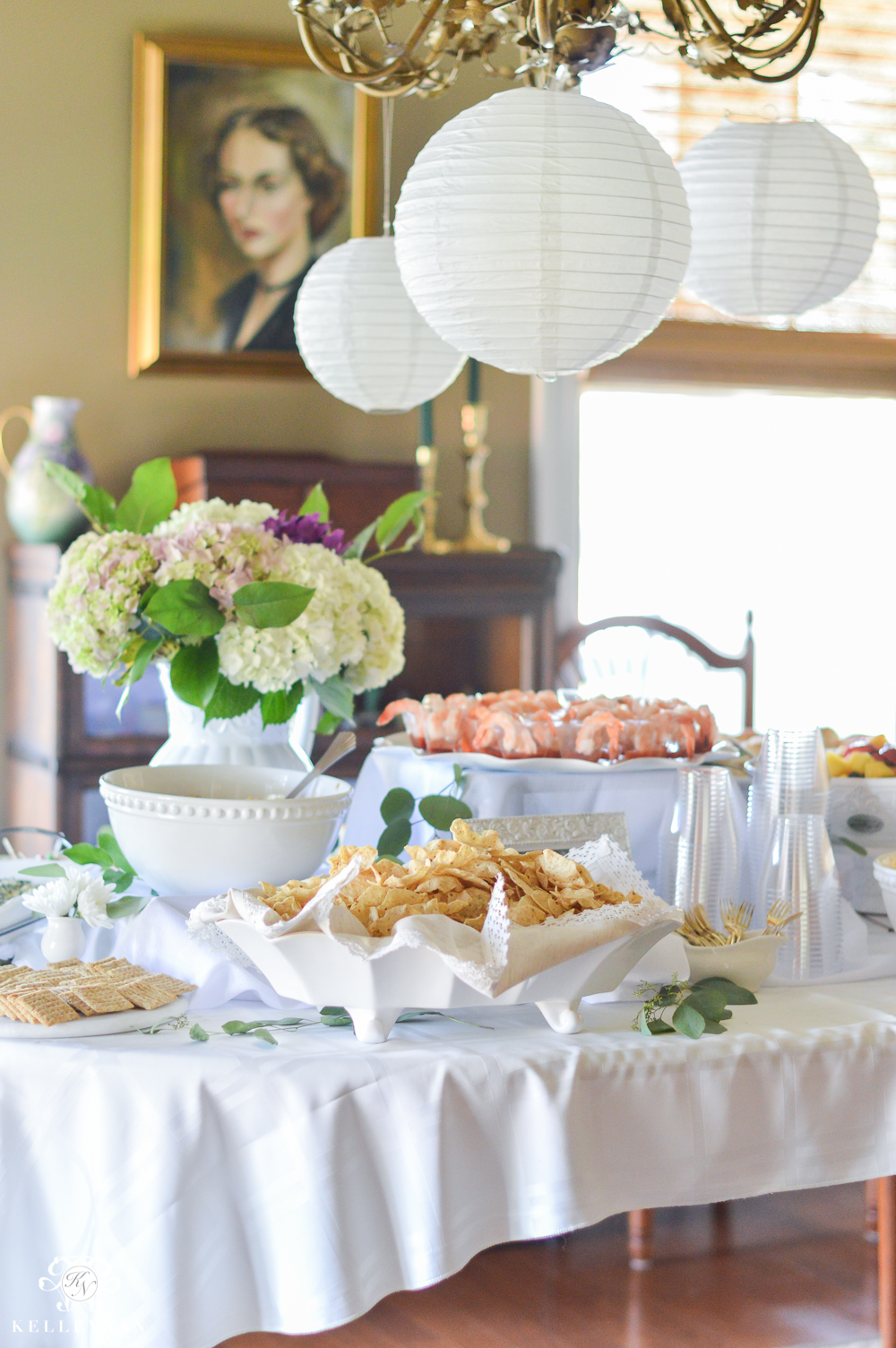 Southern Garden Party Bridal Shower Ideas- shower food table setup at different heights