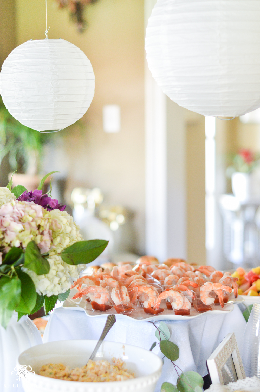 Southern Garden Party Bridal Shower Ideas- shrimp cocktail cups on platter