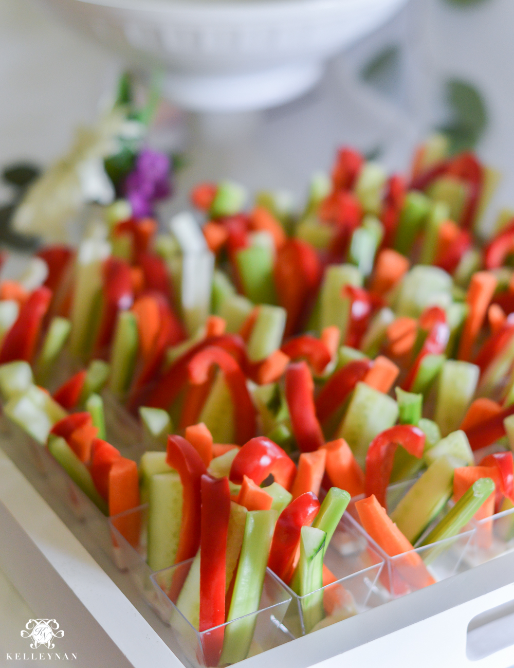 Southern Garden Party Bridal Shower Ideas- vegetable cups on display