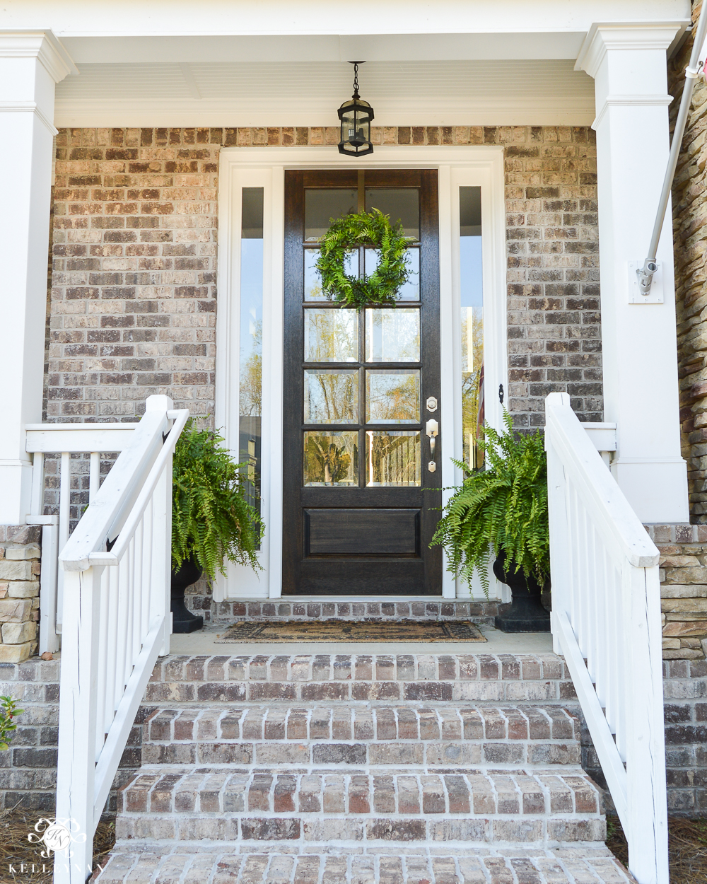 spring porch with fern wreath