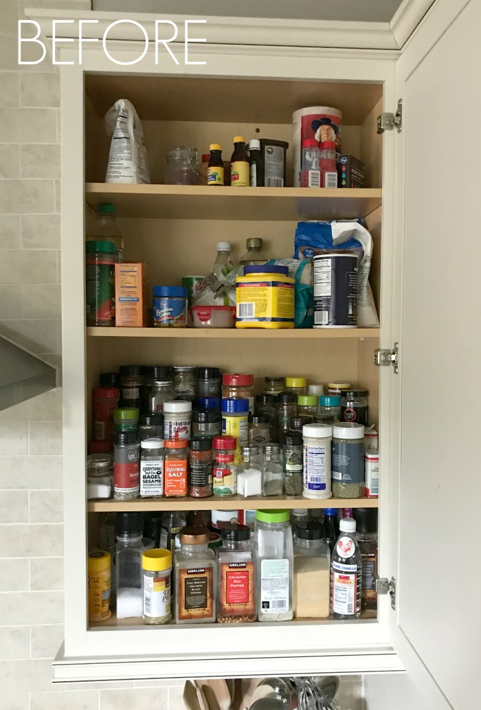 BEFORE Spice Cabinet Organization