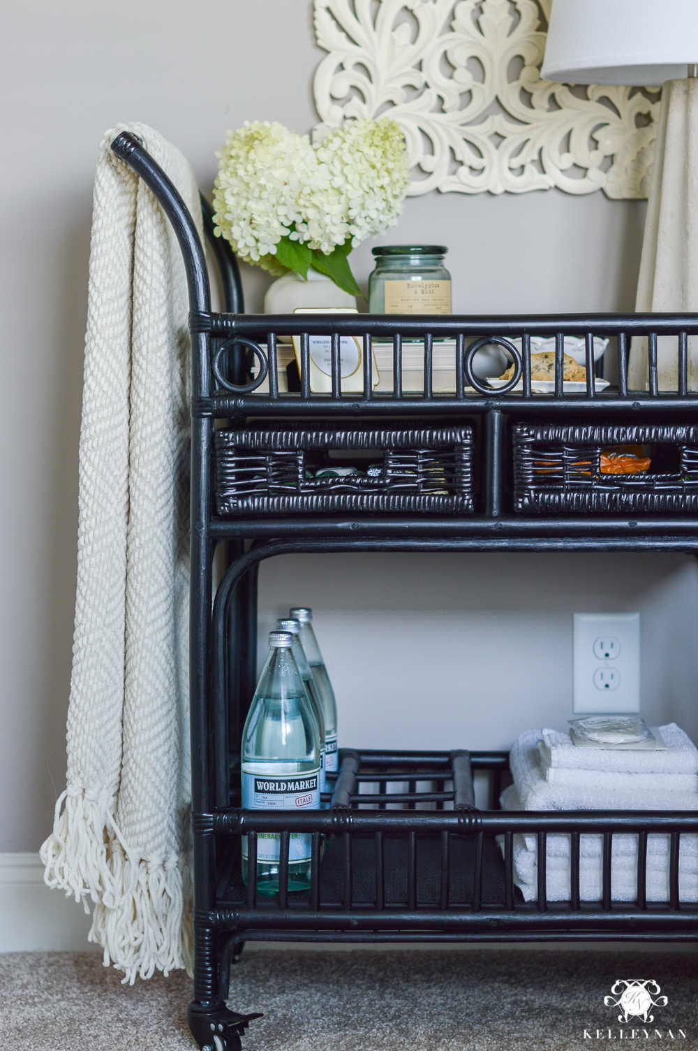 Black Rattan Bar Cart Night Stand with Guest Essentials- ideas for bar cart uses