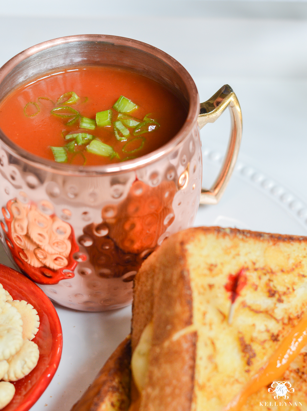 Dining by the Numbers- Flying Solo- Dinner Ideas for Singles- tomato soup in moscow mule copper mug