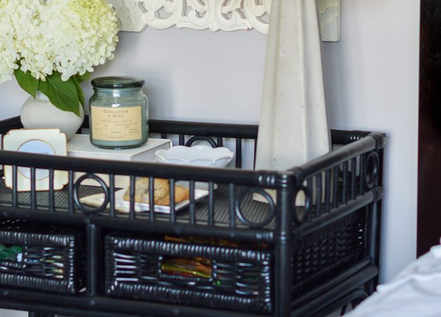 Bar Cart Nightstand for a Small Guest Bedroom