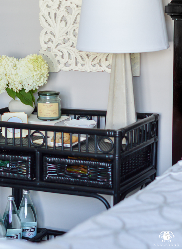 Bar Cart Nightstand For A Small Guest Bedroom Kelley Nan