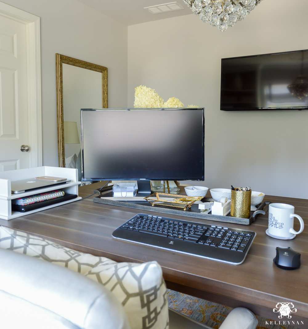 How to Hide Computer Cords with a Desk in the Center of the Room-desk with two computer monitors