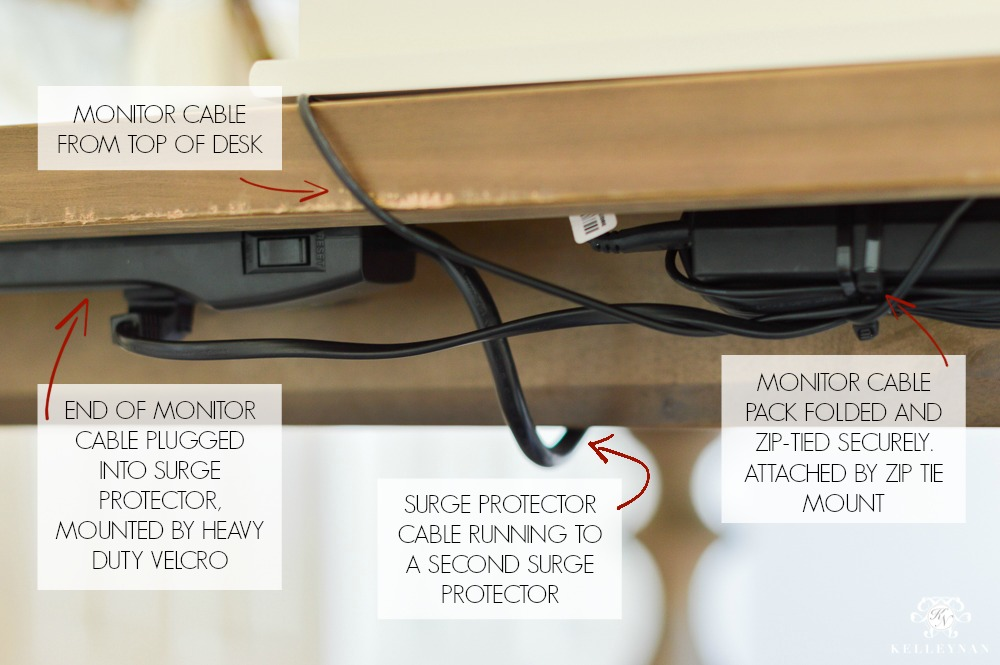 Hide Computer Cords When Your Desk Is In The Center Of The