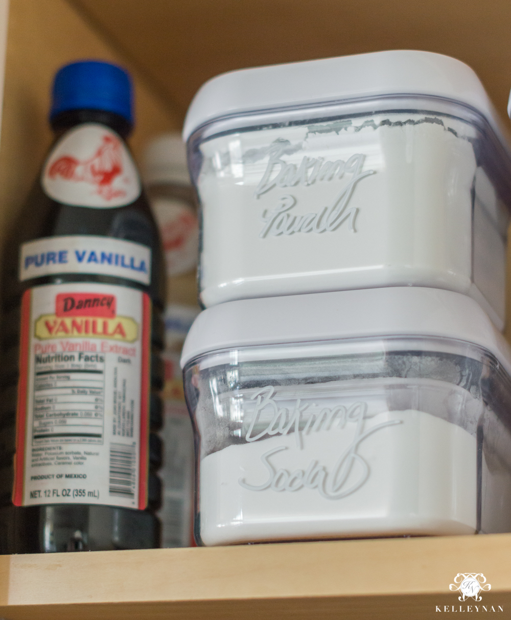 Organized Spice and Baking Cabinet- Kitchen Organization- organization using POP canisters