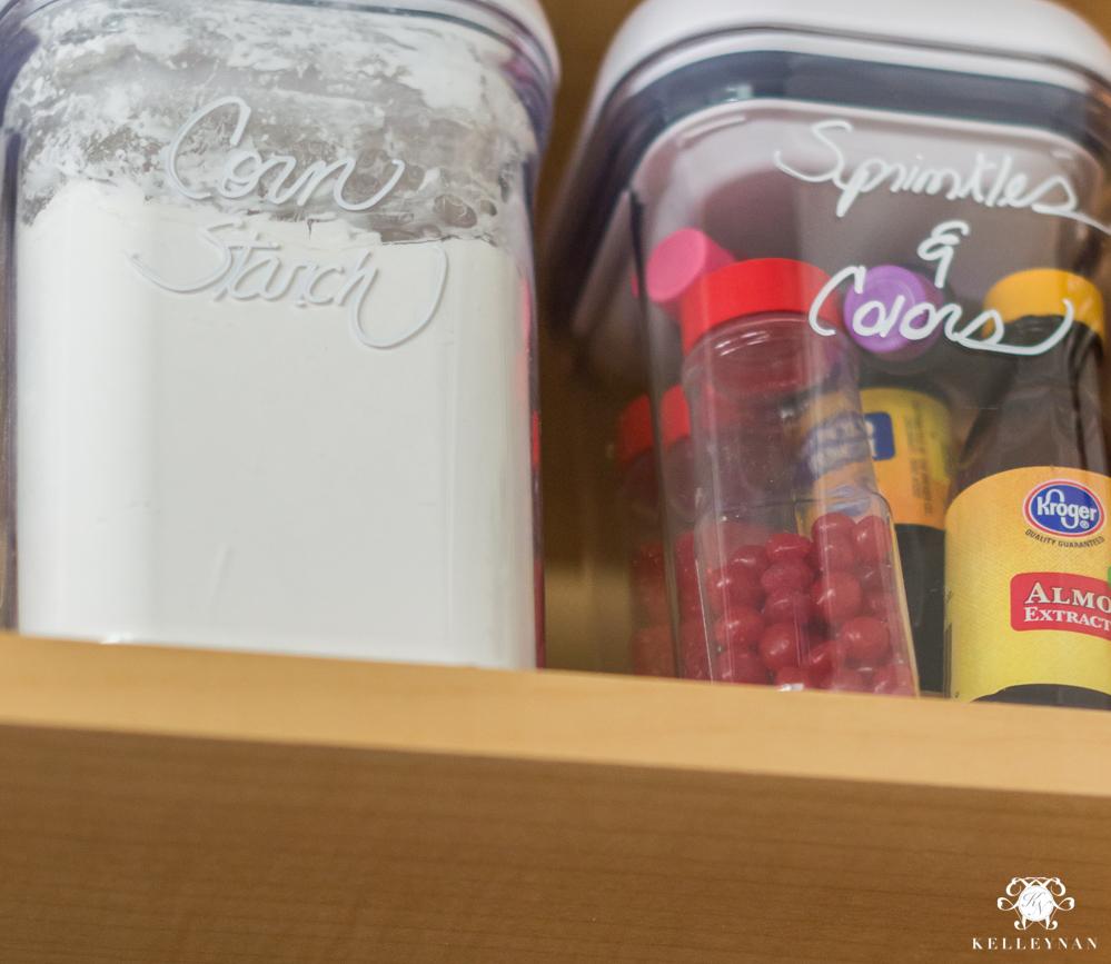 Organized Spice and Baking Cabinet- Kitchen Organization- organizing baking ingredients