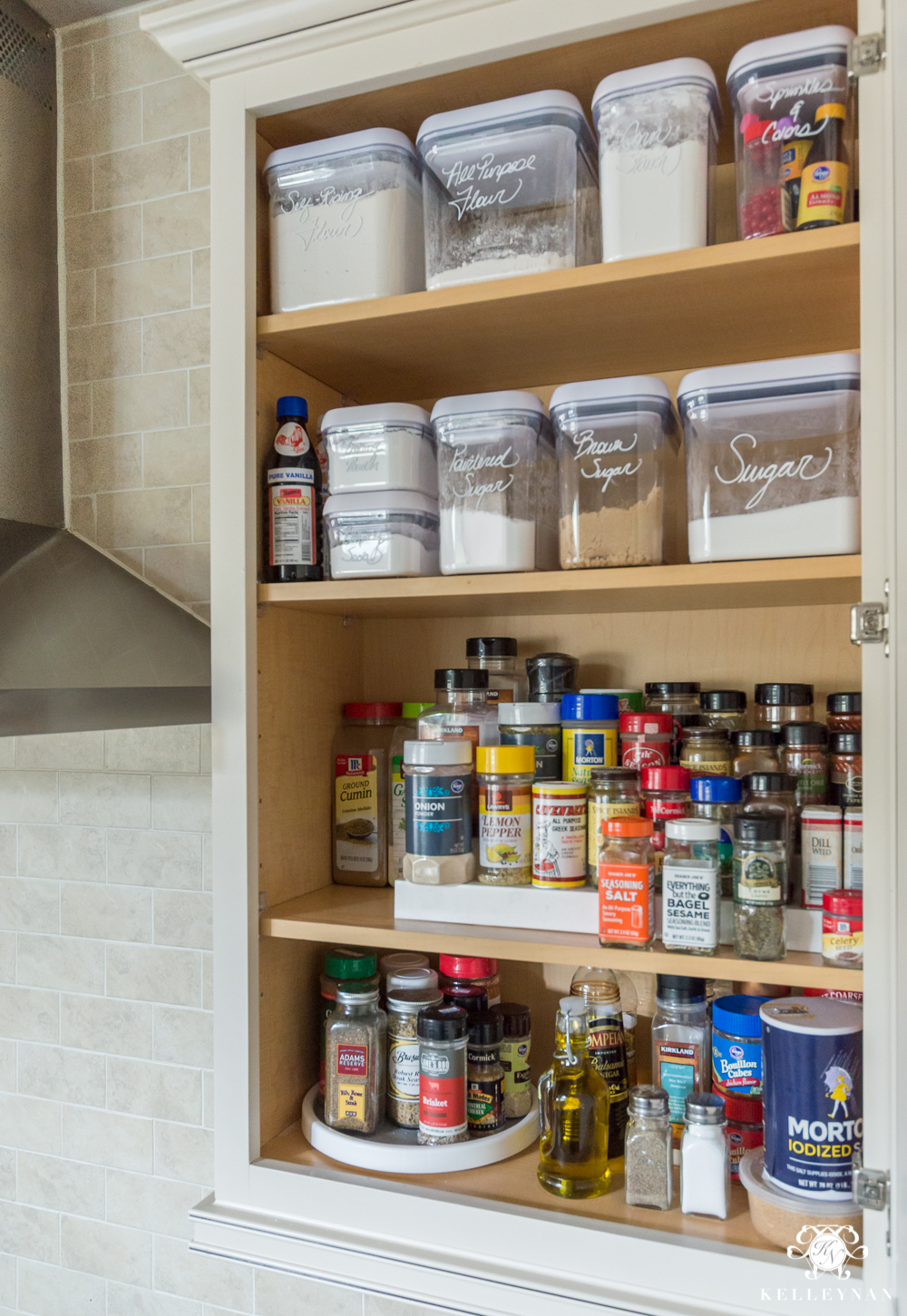 Organized Spice and Baking Cabinet- Kitchen Organization- spice organization ideas