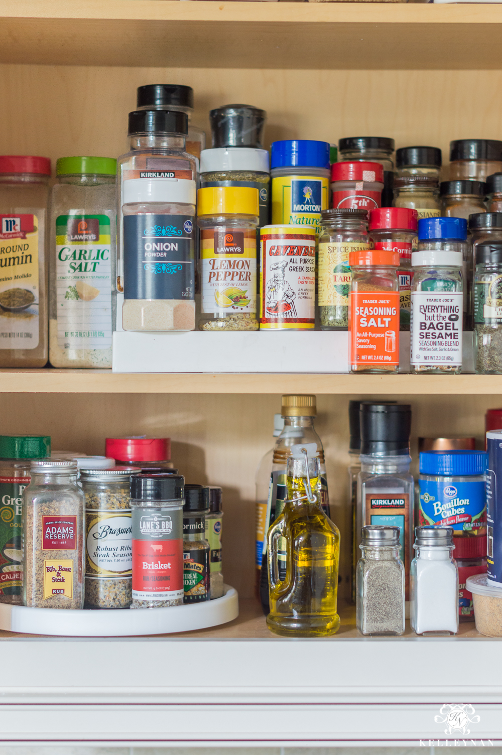 Organized Spice and Baking Cabinet- Kitchen Organization- spice organization in original jars