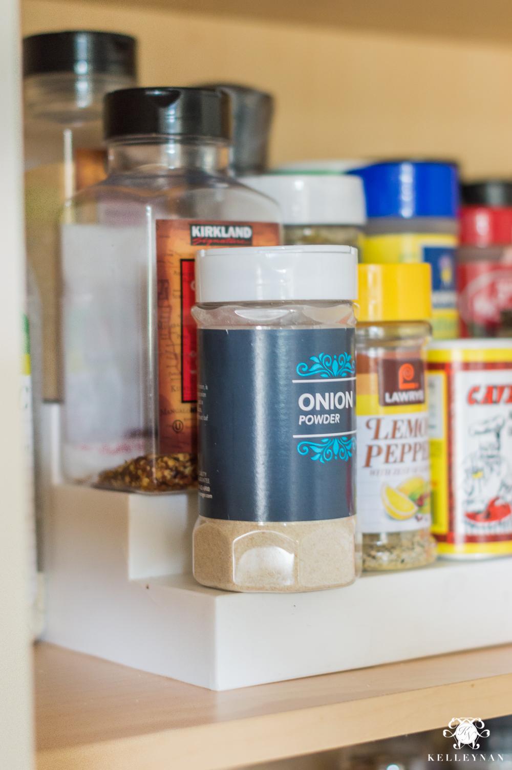 Organized Spice And Baking Cabinet  Kitchen Organization  Spice Riser  Organization